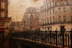 Antique city building in Europe. Retro style Royalty Free Stock Photo