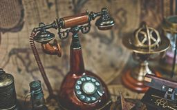 Antique Classic Rotating Dialing Telephone stock images