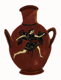 Antique Classical Greek Vase with Winged Figure Royalty Free Stock Images