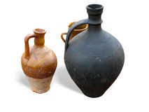 Antique clay pottery isolated Stock Images