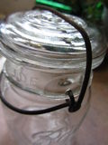 Antique Clear Canning Jar with Metal Bale Stock Image