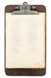 Antique clipboard with sheet of paper isolated on white Stock Photography