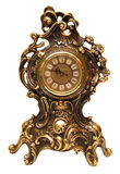 Antique clock. Old bronze clock on a white backround Royalty Free Stock Photo