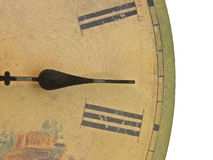 Antique Clock. A closeup of an antique clockface with roman numerals Stock Photo