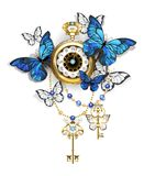 Antique clock with butterflies morpho Stock Photography