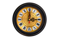 Antique clock with clipping path. Antique clock with roman numbers on white background Stock Photo