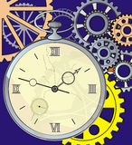 Antique clock with a crack on the face, Royalty Free Stock Photography