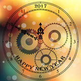 Antique clock fac. Very high quality original trendy vector antique clock face with numbers and vintage pointer  on blured boke background, happy new 2017 year Stock Photography
