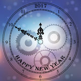 Antique clock fac. Very high quality original trendy vector antique clock face with numbers and vintage pointer  on blured boke background, happy new 2017 year Royalty Free Stock Photos