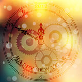 Antique clock fac. Very high quality original trendy vector antique clock face with numbers and vintage pointer on blurred boke background, happy new 2017 year royalty free illustration