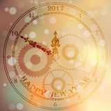 Antique clock fac. Very high quality original trendy vector antique clock face with numbers and vintage pointer isolated on blured boke background, happy new Stock Photos