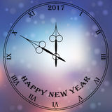 Antique clock fac. Very high quality original trendy vector antique clock face with roman numbers and vintage pointer on blured boke background, happy new 2017 Vector Illustration