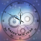 Antique clock fac. Very high quality original trendy vector antique clock face with roman numbers and vintage pointer  on blurred boke background, happy new 2017 Royalty Free Stock Images