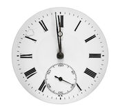 Antique clock face. Clock face showing a minute to midnight Stock Images