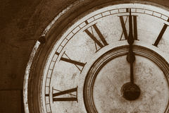 Antique Clock Face. An Antique Clock Face in a brown sepia tone Royalty Free Stock Images