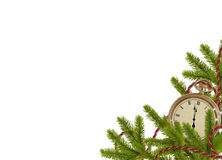 Antique clock face with branches. On the white  background Royalty Free Stock Images
