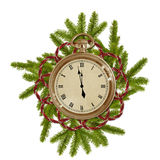 Antique clock face with branches. On the white  background Royalty Free Stock Photos