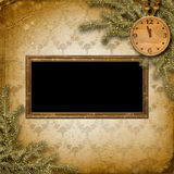 Antique clock face with and firtree. On the abstract background Royalty Free Stock Photos