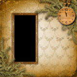 Antique clock face with and firtree Royalty Free Stock Image