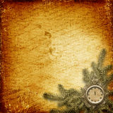 Antique clock face with lace and firtree. On the abstract background Royalty Free Stock Photo
