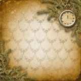 Antique clock face with lace and firtree. On the abstract background Royalty Free Stock Images