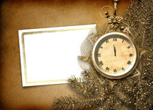 Antique clock face with lace and firtree Royalty Free Stock Photo