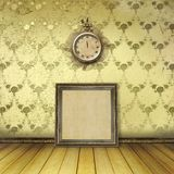 Antique clock face with lace on the wall Stock Photos