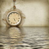 Antique clock face reflected Stock Images