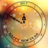Antique clock face. Very high quality original trendy vector antique clock face with numbers and vintage pointer isolated on blured boke background, happy new Stock Photos