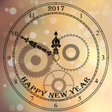 Antique clock face. Very high quality original trendy vector antique clock face with numbers and vintage pointer isolated on blured bokeh background, happy new stock illustration