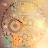 Antique clock face. Very high quality original trendy vector antique clock face with roman numbers and vintage pointer on blured boke background, happy new 2017 Stock Illustration