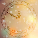 Antique clock face. Very high quality original trendy vector antique clock face with roman numbers and vintage pointer on blured boke background, happy new 2017 vector illustration