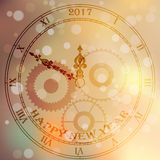 Antique clock face. Very high quality original trendy vector antique clock face with roman numbers and vintage pointer on blured boke background, happy new 2017 royalty free illustration