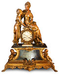 Antique clock with figurines Stock Images