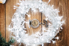 Antique clock five minutes to midnight - Christmas Concept Royalty Free Stock Photos