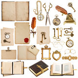 Antique clock, key, papers, books, frames Stock Image