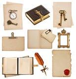 Antique clock, key, postcard, photo album, feather pen Royalty Free Stock Images