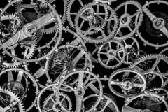 Antique clock mechanism steampunk style cogs gears wheels. Close view royalty free stock photo