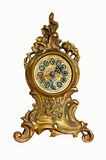 Antique clock  rococo. Antique rococo style clock isolated on white Royalty Free Stock Image