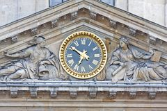Antique clock with Roman Numerals royalty free stock photos