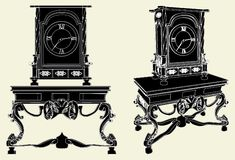Antique Clock Standing On The Vintage Table Vector Royalty Free Stock Images
