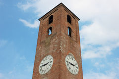 Antique Clock Tower on Blue Sky Background Stock Image