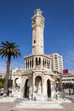 Antique clock tower from Izmir. Historical Clock Tower of Izmir,Turkey. It was built in 1901, at Konak Square and accepted as the symbol of Izmir City Stock Photos