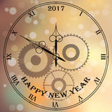 Antique clock. Very high quality original trendy vector antique clock face with roman numbers and vintage pointer isolated on blured boke background, happy new Stock Photo