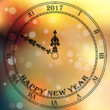 Antique clock. Very high quality original trendy vector antique clock face with roman numbers and vintage pointer isolated on blured boke background, happy new royalty free illustration