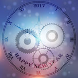 Antique clock. Very high quality original trendy vector antique clock face with roman numbers and vintage pointer isolated on blurred bokhe background, happy new royalty free illustration