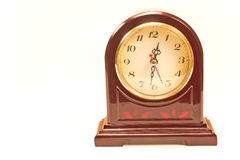 Antique clock in wooden frame isolated Stock Image