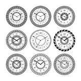 Antique clocks isolate on white. Vintage watch on wall. Vector pictures set Stock Photos