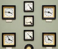 Antique clocks on wall Royalty Free Stock Images