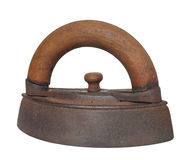 Antique clothes iron isolated. Royalty Free Stock Images